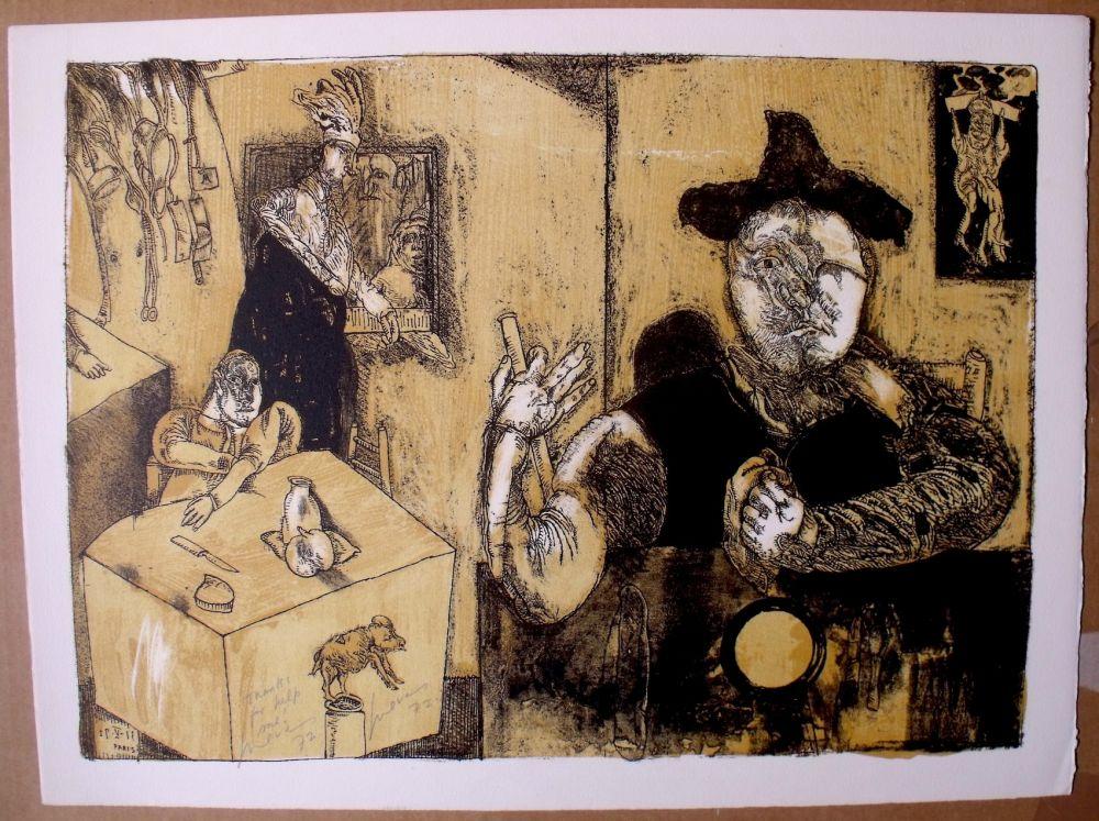 Lithographie Cuevas - Le repas du magicien