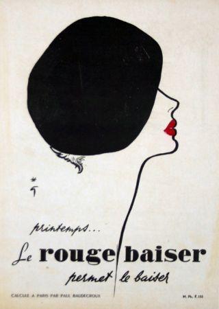 Lithographie Gruau - Le Rouge  Baiser  Permet le Baiser