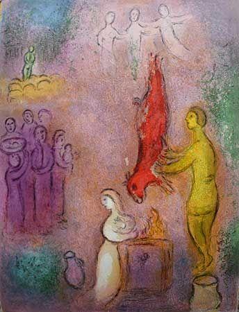 Lithographie Chagall - Le sacrifice aux nymphes