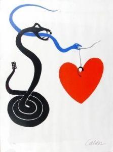 Lithographie Calder - Le serpent au coeur