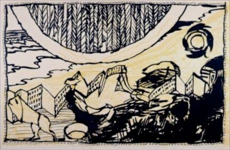 Aquatinte Alechinsky - Le Siege de Nieuport