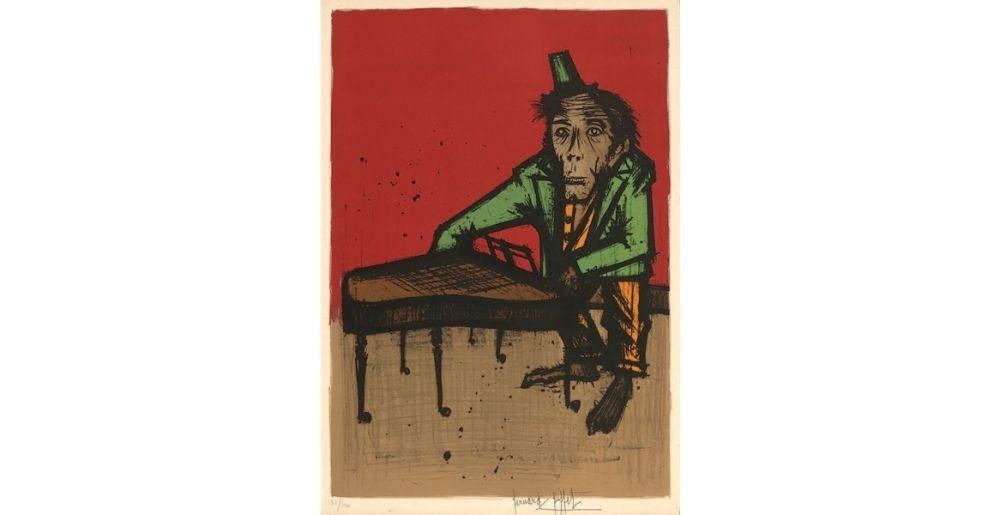 Lithographie Buffet - Le singe musicien, 1968.