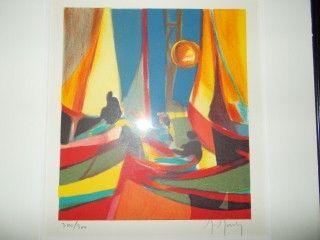 Lithographie Mouly - Le soleil jaune