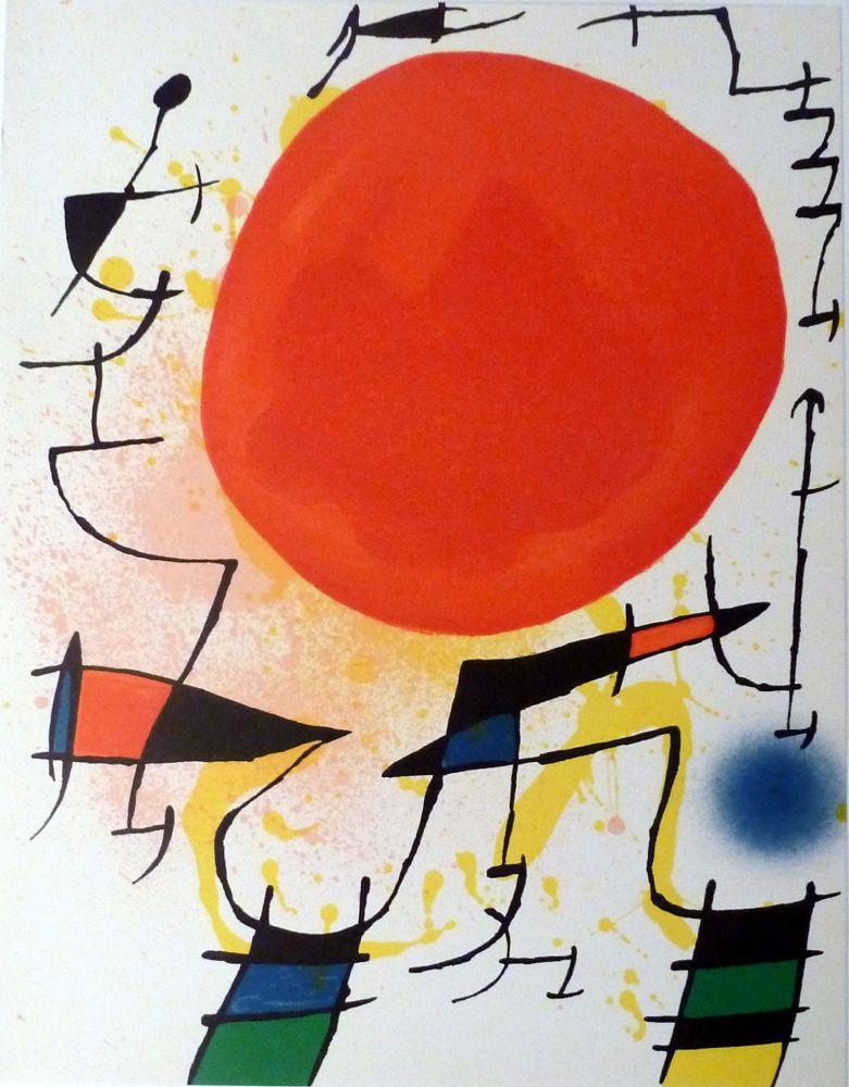 Lithographie Miró - Le Soleil Rouge