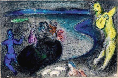 Lithographie Chagall - LE SONGE DU CAPITAINE BRYIAXIS (de la suite Daphnis & Chloé - 1961)