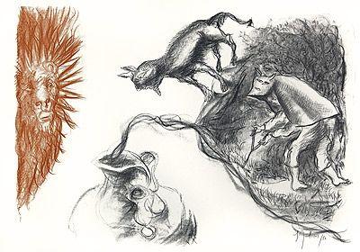 Lithographie Garouste - Le Sourcier