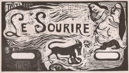 Gravure Sur Bois Gauguin - Le Sourire