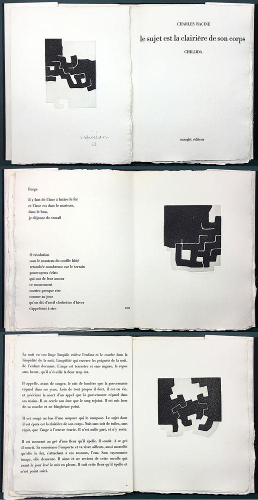 Livre Illustré Chillida - LE SUJET EST LA CLAIRIÈRE DE SON CORPS. Poèmes de Jean Racine