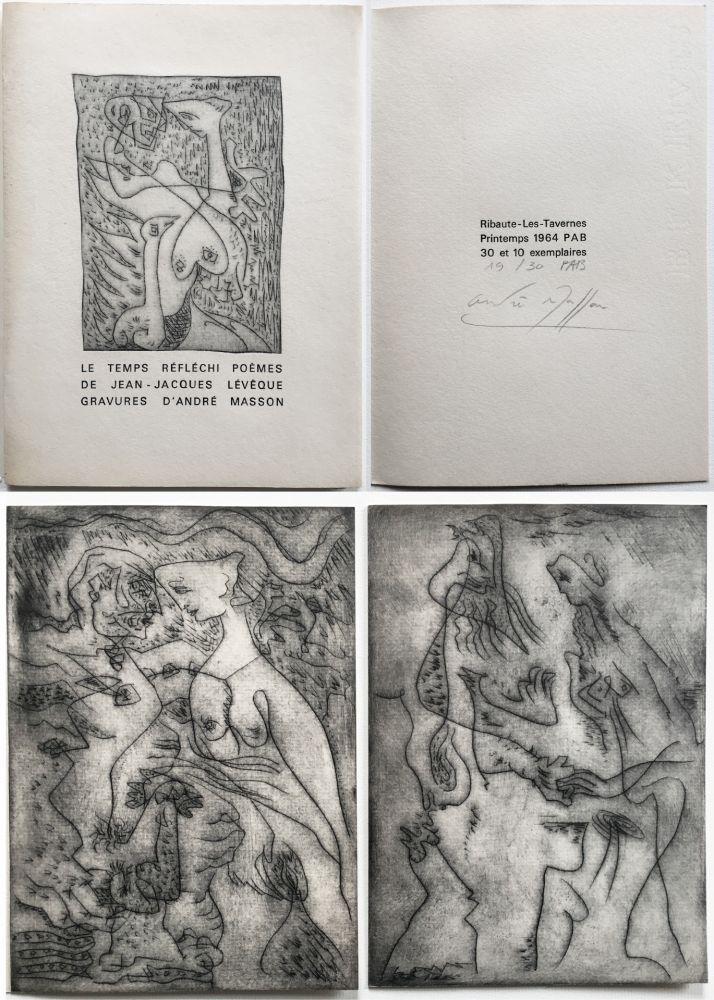 Livre Illustré Masson - LE TEMPS RÉFLÉCHI. Poèmes de J.J Lévèque. 3 pointes-sèches sur celluloïd (PAB 1964).