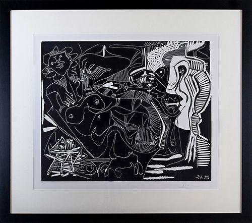 Linogravure Picasso - Le Thé: Deux Femmes Nues et une Chat (B. 1851)