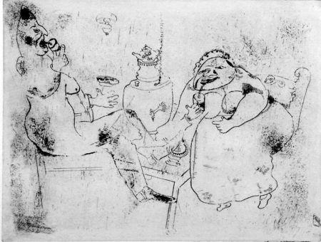 Eau-Forte Chagall - Le thé du matin