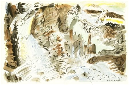Lithographie Masson - Le Torrent.