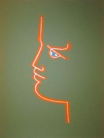 Lithographie Cocteau - Le trait de feu (Green)