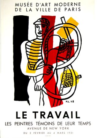 Lithographie Leger - Le Travail  Musee D'art Moderne