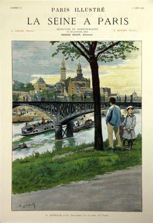 Lithographie Grasset - Le Trocadero et le Pont de Passy