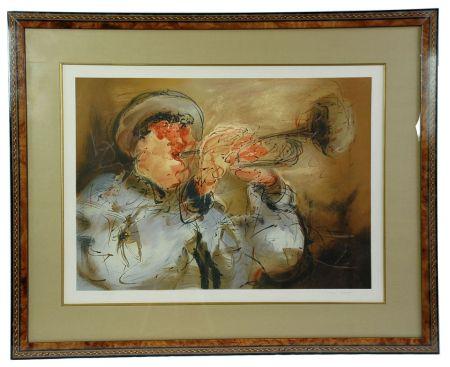 Lithographie Urdin  - Le Trompettiste - The Trumpeter