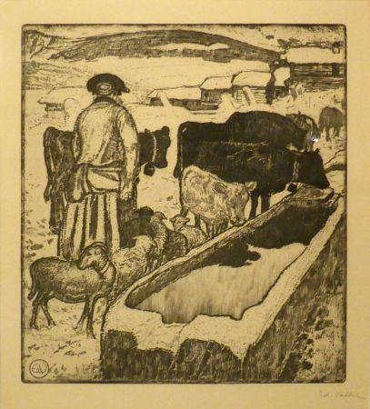 Eau-Forte Et Aquatinte Vallet - Le troupeau à l'abreuvoir / Die Herde an der Tränke