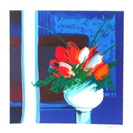 Lithographie Bellet - Le vase blanc
