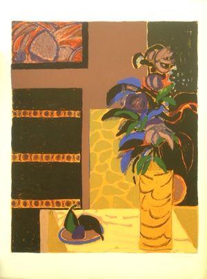 Lithographie Godard - Le vase jaune