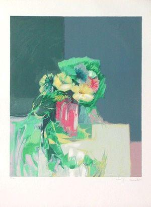 Lithographie Hemeret  - Le vase rose
