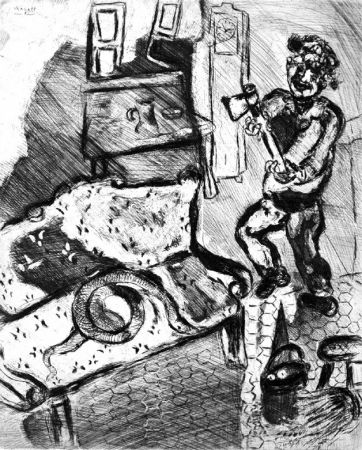 Eau-Forte Chagall - Le Villageois et le serpent