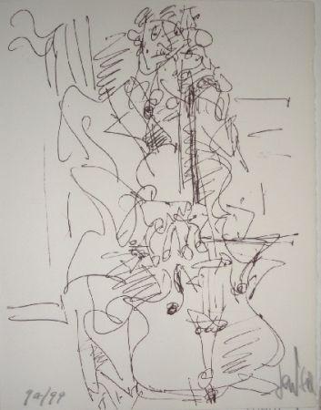 Lithographie Paul  - Le violoncelliste