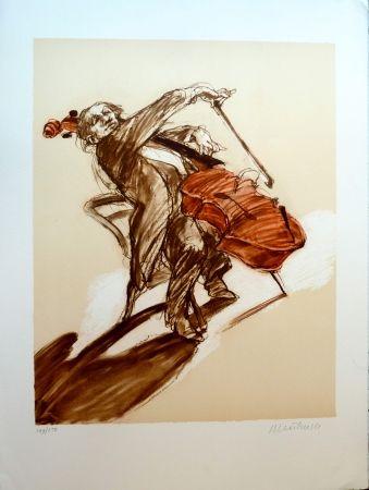 Lithographie Weisbuch - Le Violoncelliste