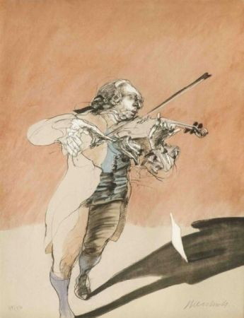 Lithographie Weisbuch - Le violoniste