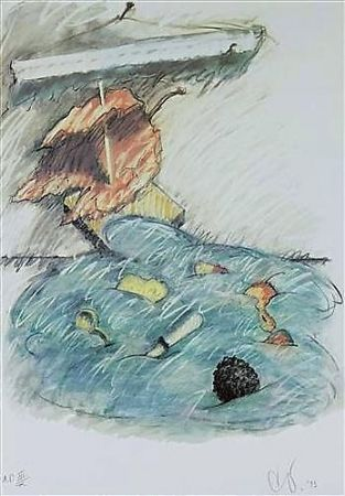 Lithographie Oldenburg - Leaf Boat-Storm In The Studio