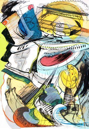 Lithographie Nørgard - Leaving civilisation 2