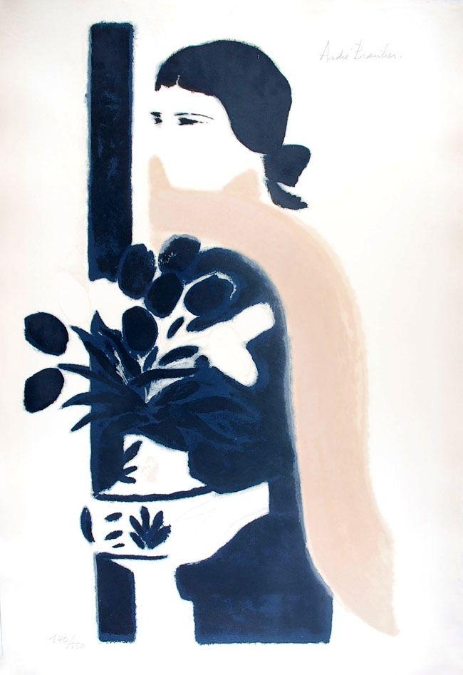 Lithographie Brasilier - L'Echarpe Rose