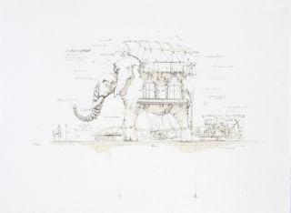 Lithographie Delarozière - L'Elephant