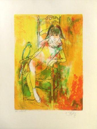 Lithographie Valadie - L'enfant et l'oiseau