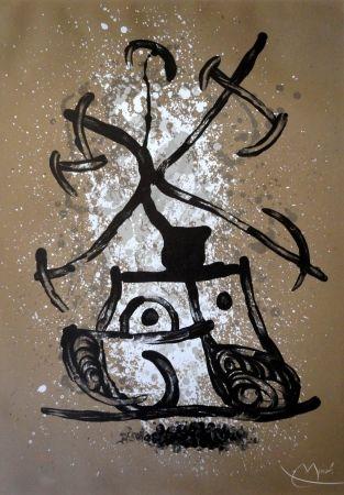 Lithographie Miró - L'entraineuse brun
