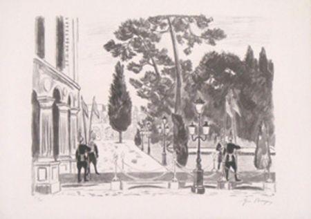 Lithographie Brayer - L'entree du palais