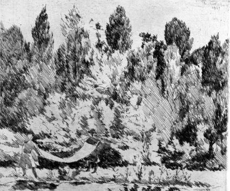 Eau-Forte Castellani - Lenzuola al sole