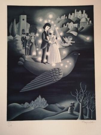 Lithographie Peynet - Les étoiles