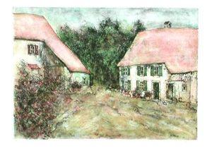 Lithographie Gantner - Les 2 fermes