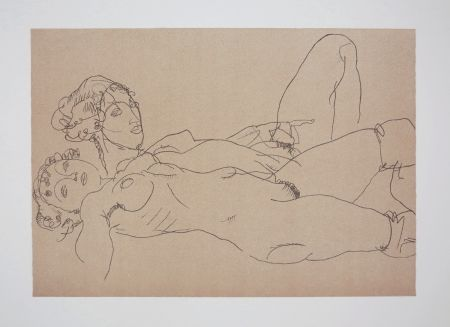 Lithographie Schiele - LES 2 FILLES / TWO GIRLS - 1914