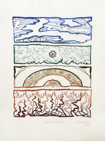 Gravure Alechinsky - Les 4 éléments
