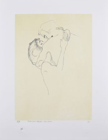 Lithographie Klimt - LES AMOUREUX / LOVERS 1904-1905 / Upper bodies of an embracing couple