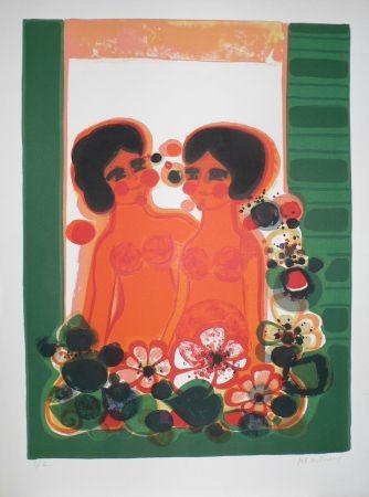 Lithographie Menguy - Les Angéliques : au balcon