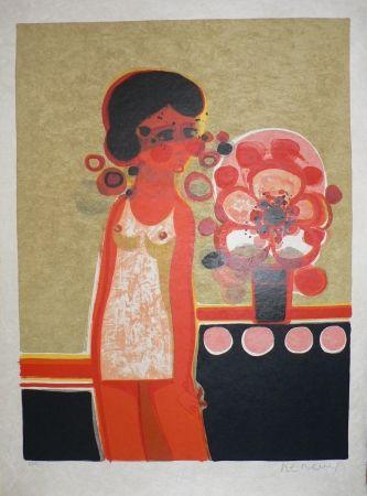 Lithographie Menguy - Les Angéliques : Pensive