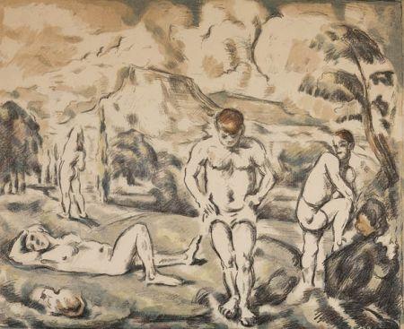 Lithographie Cezanne - Les baigneurs / The Bathers
