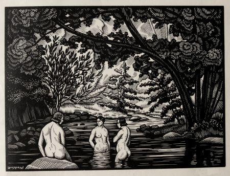 Gravure Sur Bois Moreau - LES BAIGNEUSES / BATHERS - Gravure s/bois / Woodcut - 1912