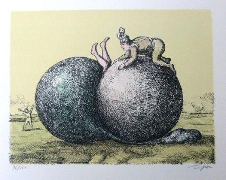 Lithographie Topor - Les boules