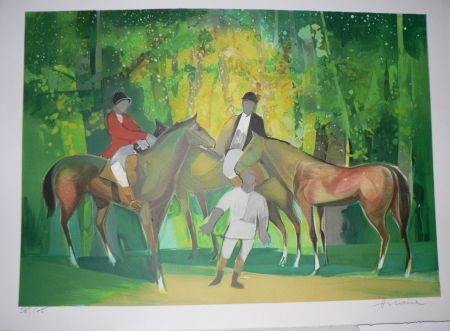 Lithographie Hilaire - Les Cavaliers