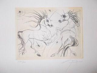 Gravure Guiny - Les chevaux de Jupiter
