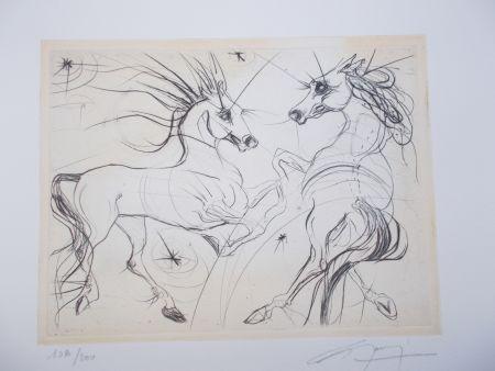 Gravure Guiny - Les chevaux du printemps