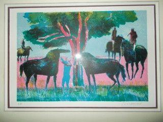 Lithographie Guiramand - Les chevaux et les cavaliers